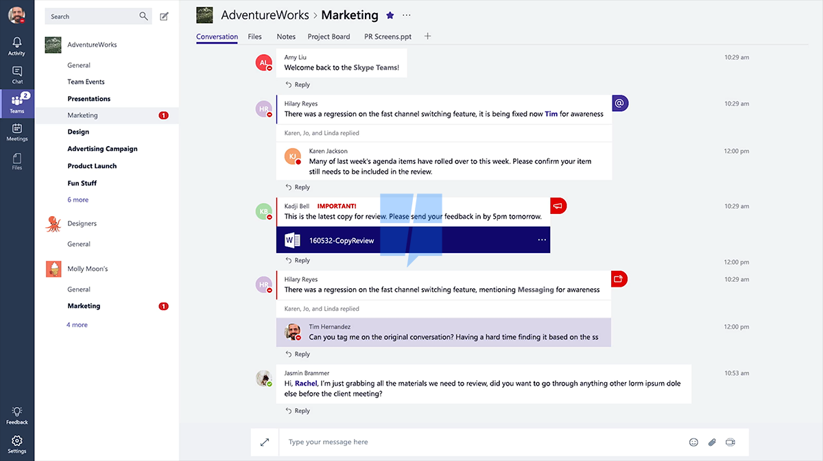 interne Kommunikation: Microsoft Teams