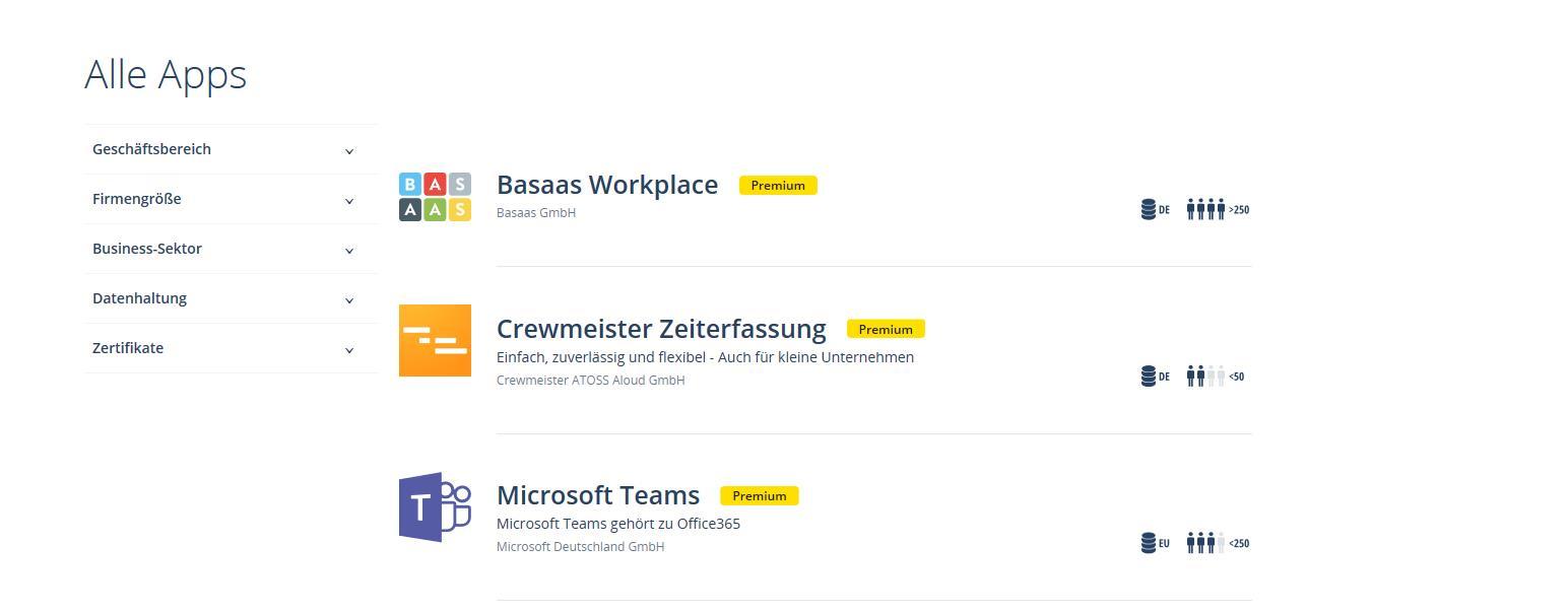 Smart Business Cloud App Store Übersicht Suche
